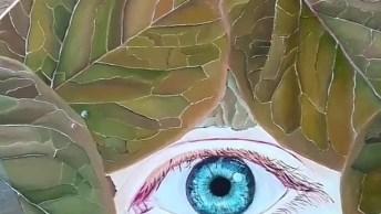 Desenho De Olho Humano No Meio De Folhas De Árvore, Que Lindo!
