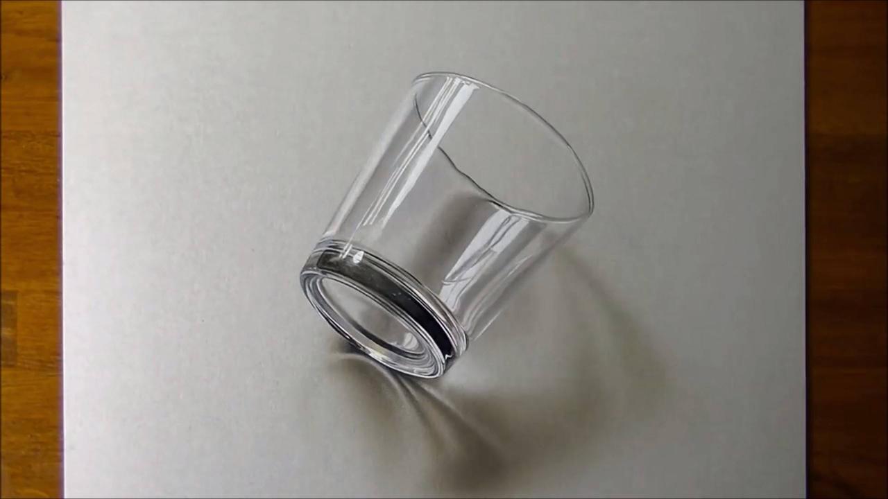 Desenho de um copo em 3D simplesmente perfeito