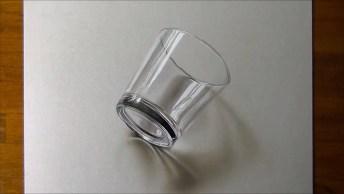 Desenho De Um Copo Em 3D Simplesmente Perfeito, Vale A Pena Conferir!