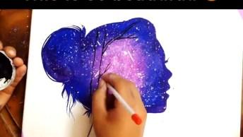 Desenho De Uma Sombra De Mulher Com Uma Paisagem Dentro, Diferente E Magnífico!