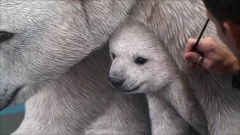 Desenho De Urso Polar E Seus Filhotes, Uma Obra De Arte Autêntica!