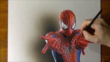 Desenho Em 3D De Homem Aranha, Olha Só Que Perfeição Esta Obra De Arte!