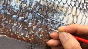 Desenho Incrível De Um Peixe Dentro De Um Aquário Na Parede, Sensacional!
