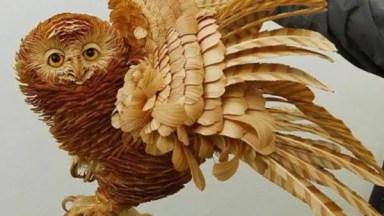 Esculturas Feitas Com Lascas De Madeiras, Impressionante A Perfeição!