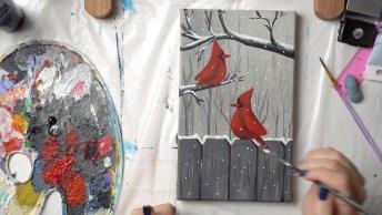 Linda Obra Arte De Arte De Passarinhos Sobre A Cerca A Ganhos De Árvore!