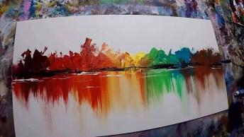 Linda Obra De Arte Abstrata Sendo Feita, Olha Só Esta Técnica Fantástica!