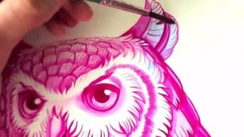 Linda Obra De Arte Feita Apenas Na Cor Rosa E Azul, Com Resultado Lindíssimo!