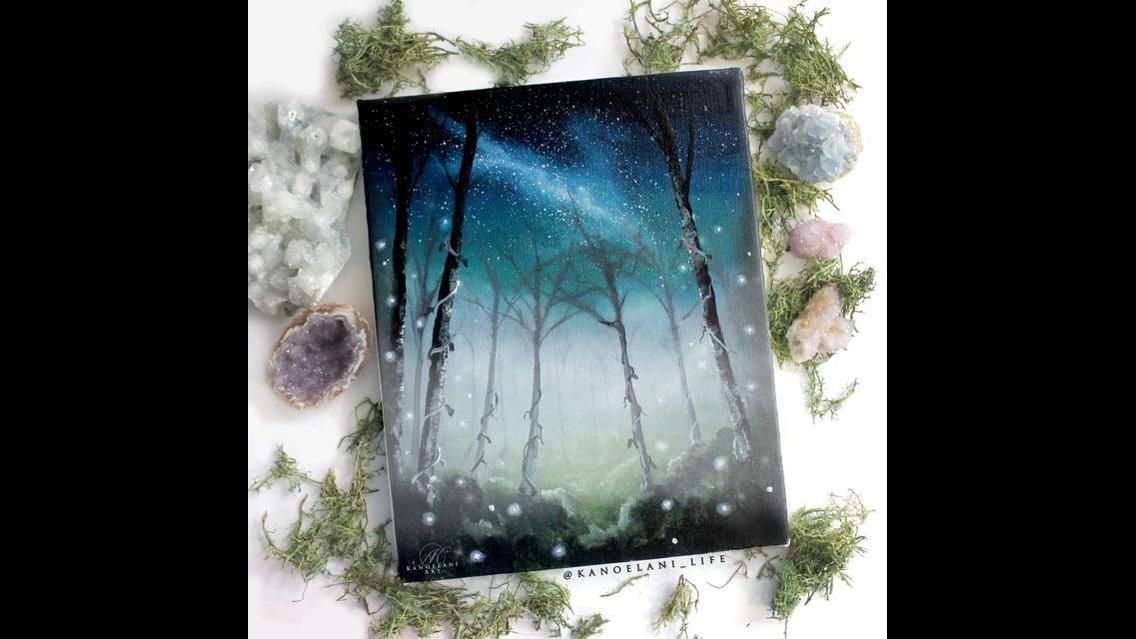 Lindo quadro com paisagem de céu a noite