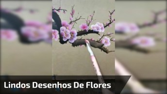 Lindos Desenhos De Flores Em Tela Preta, Criatividade E Beleza!