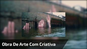 Obra De Arte Com Criatividade, Um Desenho Sensacional Na Parede De Uma Ponte!