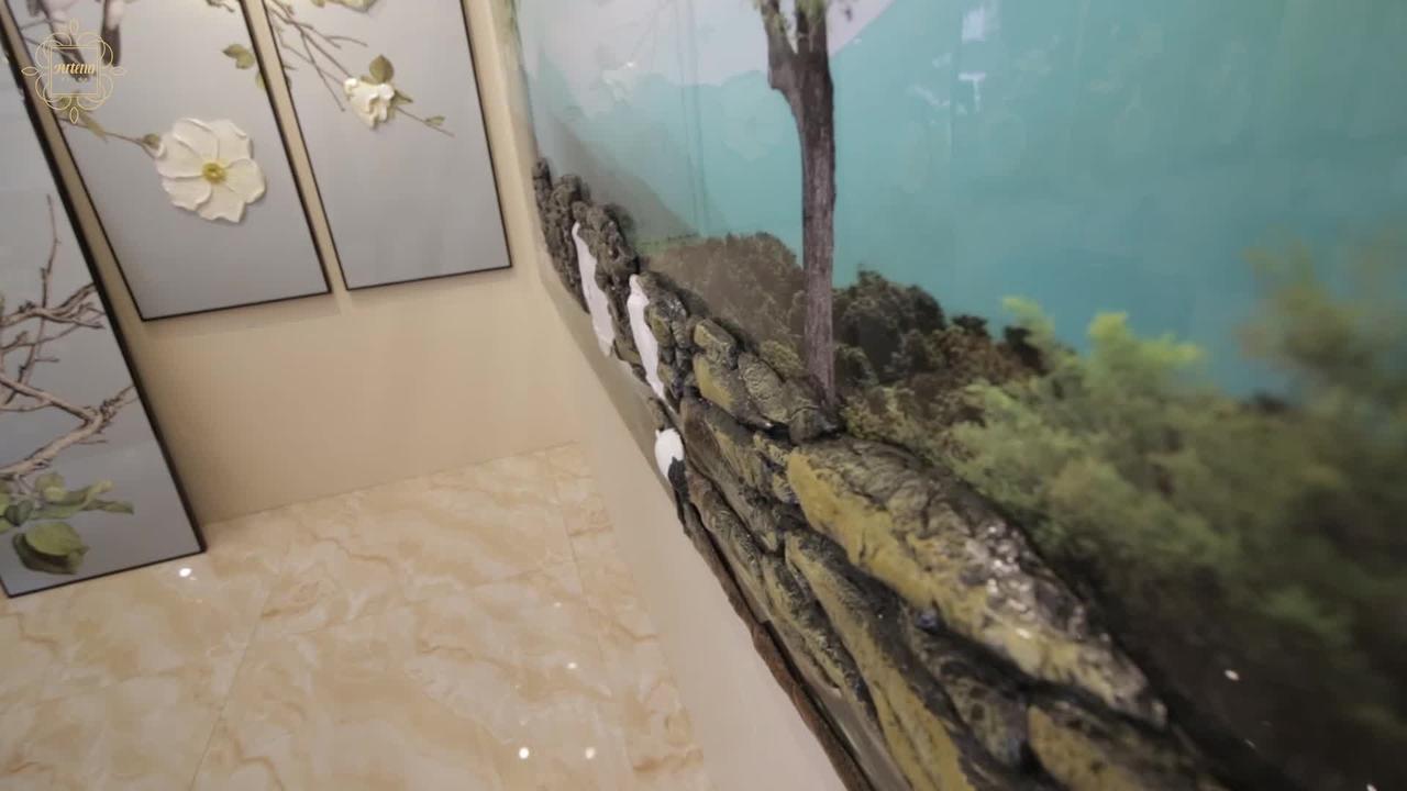 Obra de arte com efeito 3D feito com pedras