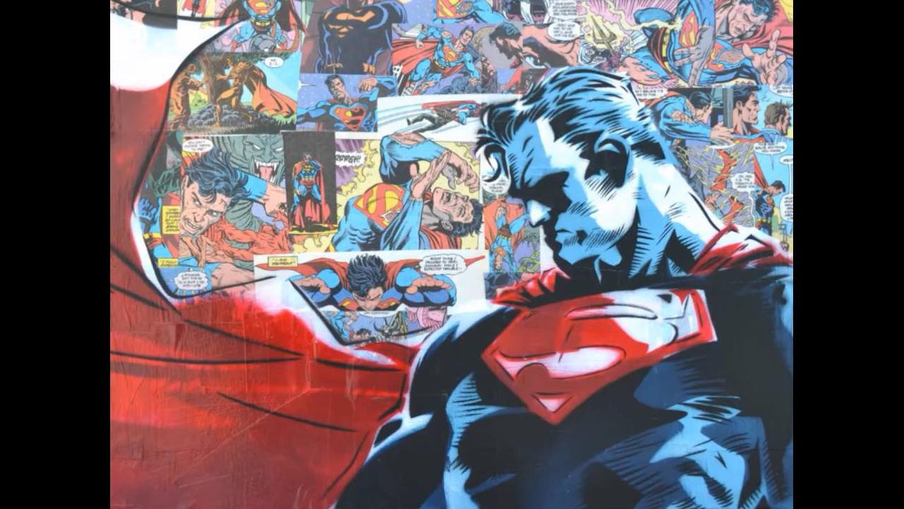 Obra de arte de Super-heróis feito com tinta em spray