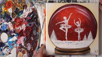Pintura De Globo De Neve Com Bailarinas, Olha Só Que Trabalho Incrível!