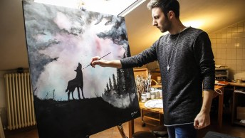 Pintura De Lobo Feita Com Tinta Especial, Veja Que Resultado Fantástico!