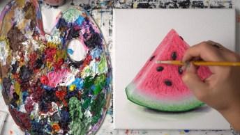 Pintura De Melancia Com Tinta Óleo, O Resultado É Incrível!
