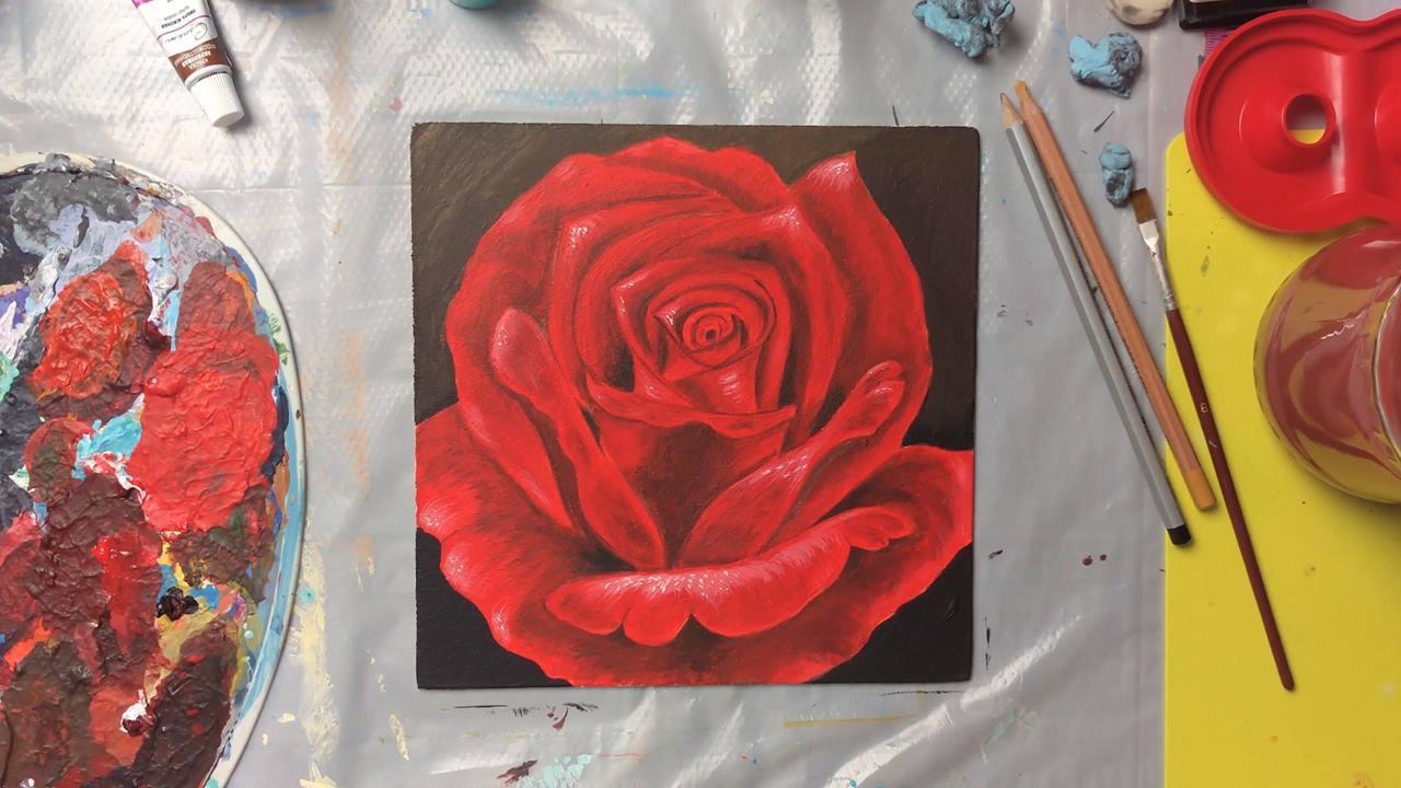 Pintura de uma rosa, olha só que perfeito esta obra de arte