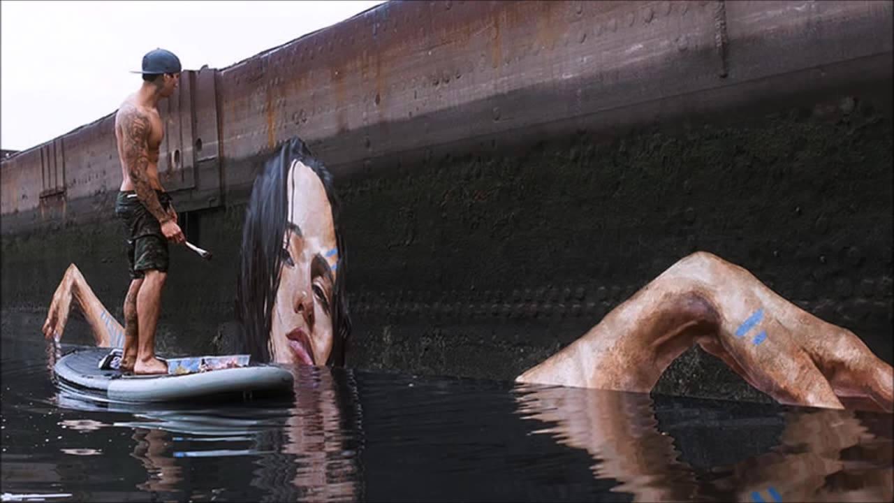 Pinturas de figuras femininas pintadas em lugares inusitados
