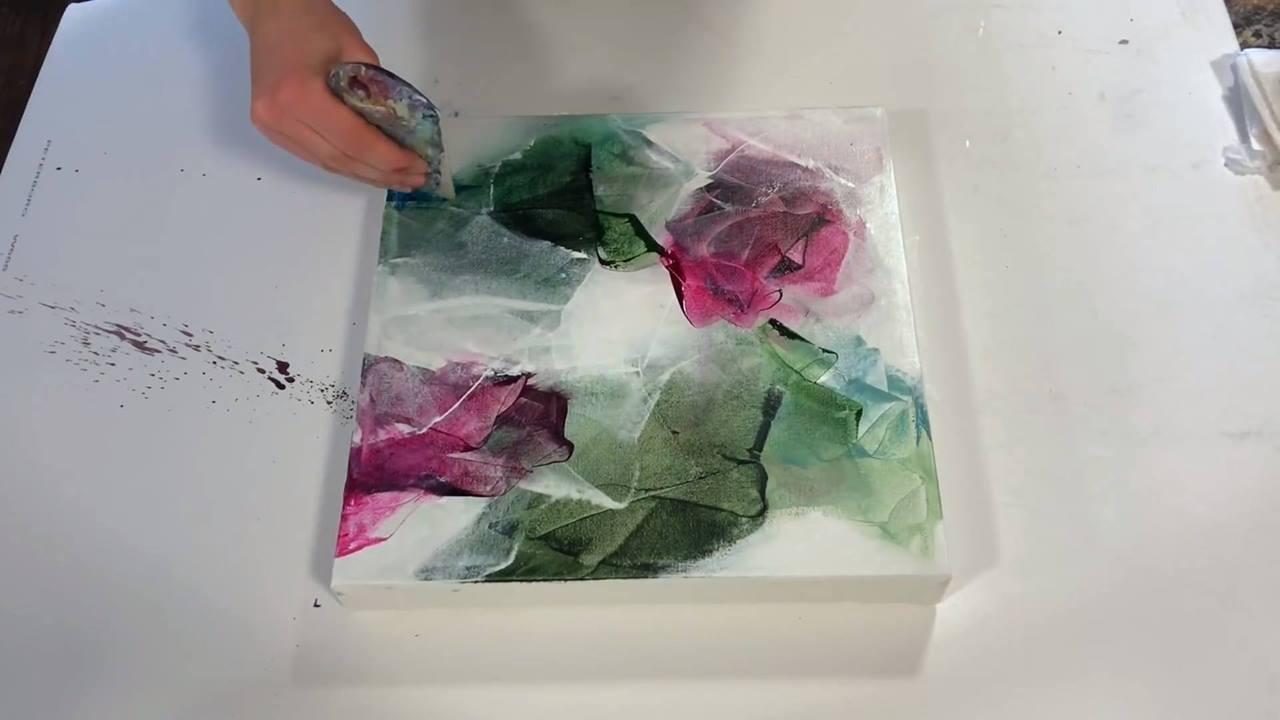 Quadro de flor com técnica de pintura abstrata