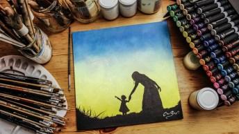 Quadro Mãe E Filha Feito Com Tinta Que Brilha No Escuro, Uma Linda Arte!