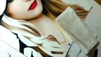 Rosto De Mulher Pintado A Mão, Veja Quanta Perfeição Em Apenas Um Desenho!