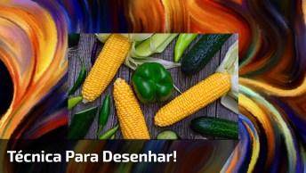 Técnica Para Desenhar Legumes E Outras Coisas Para Vivarem Artes!