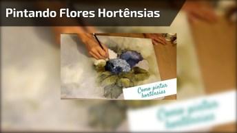 Técnica Para Pintar Flores Hortênsias, Fica Muito Lindo O Resultado!