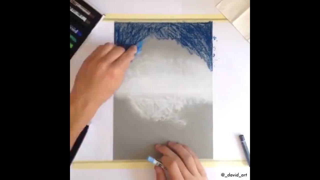 Vídeo com desenho feito com giz