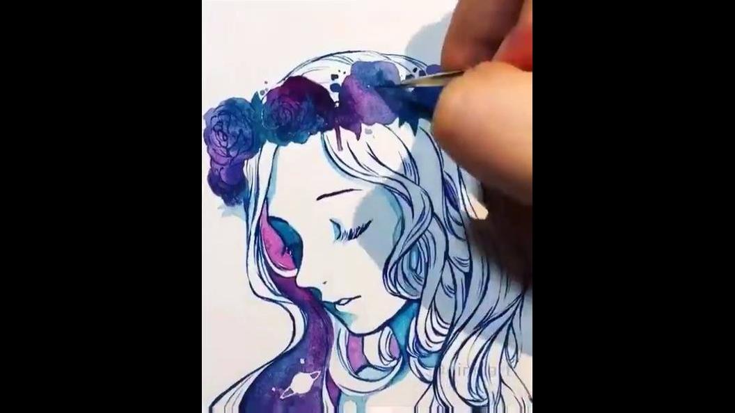 Vídeo mostrando desenho sendo pintado de forma magica