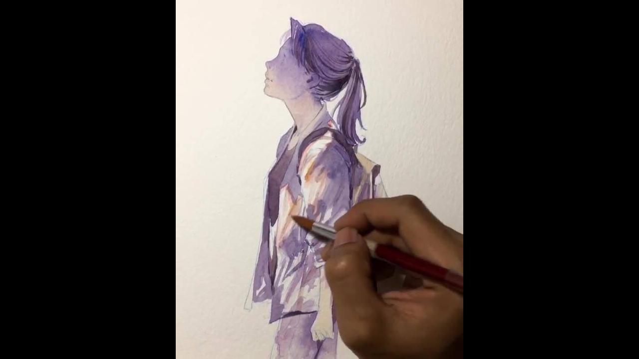 Vídeo mostrando pintura de desenho maravilhosa
