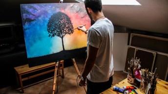 Vídeo Mostrando Pintura Em Quadro Com Tinta, Veja Que Linda Paisagem!