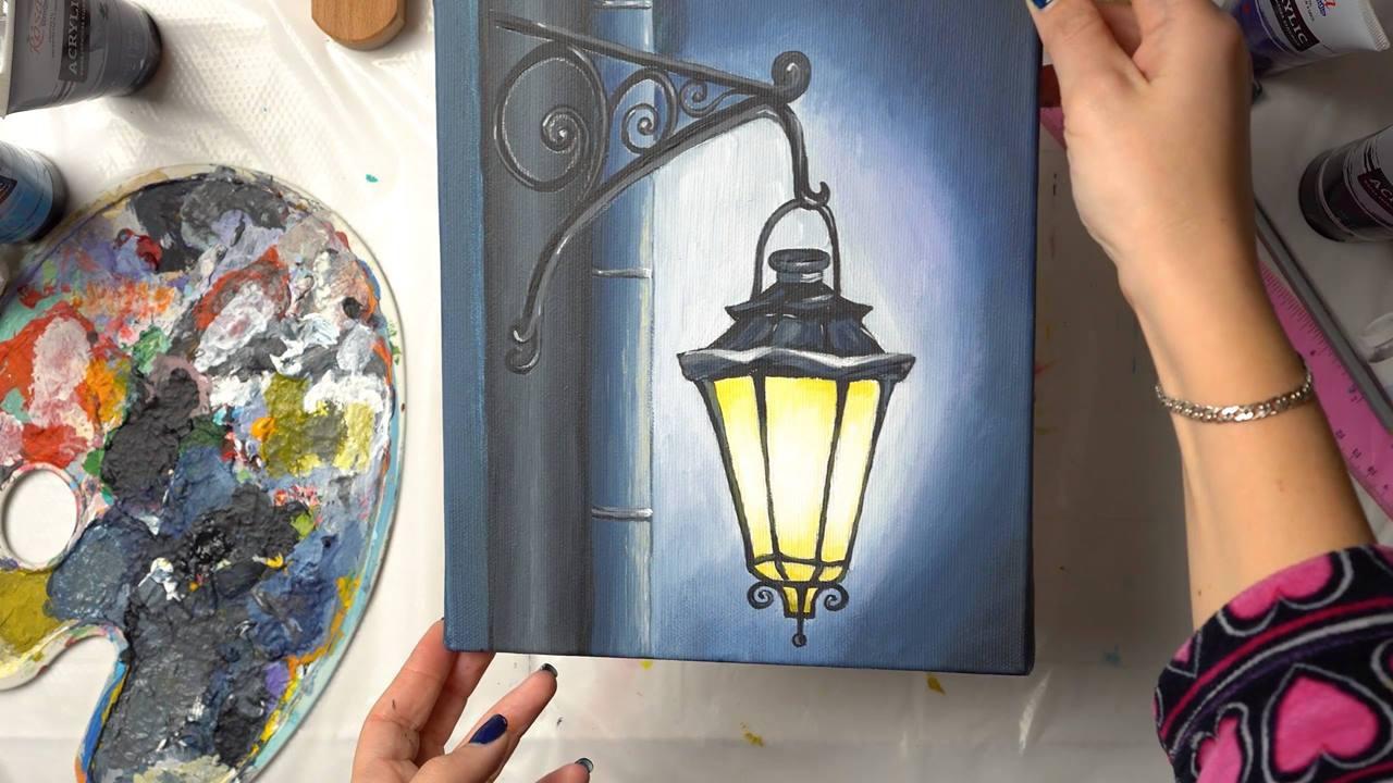 Vídeo mostrando todo processo de desenho e pintura de uma lampada!!!