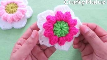 Aprenda A Fazer Uma Flor De Crochê Em Ponto Pipoca, Muito Fácil!