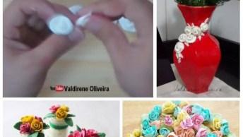 Aprenda Como Fazer Mini Rosas De Massa Biscuit, Para Usar Em Vários Artesanatos!