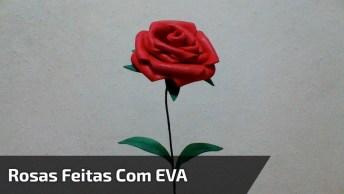 Arranjo De Parede Com Rosas Feitas Com Eva, Um Artesanato Lindo!