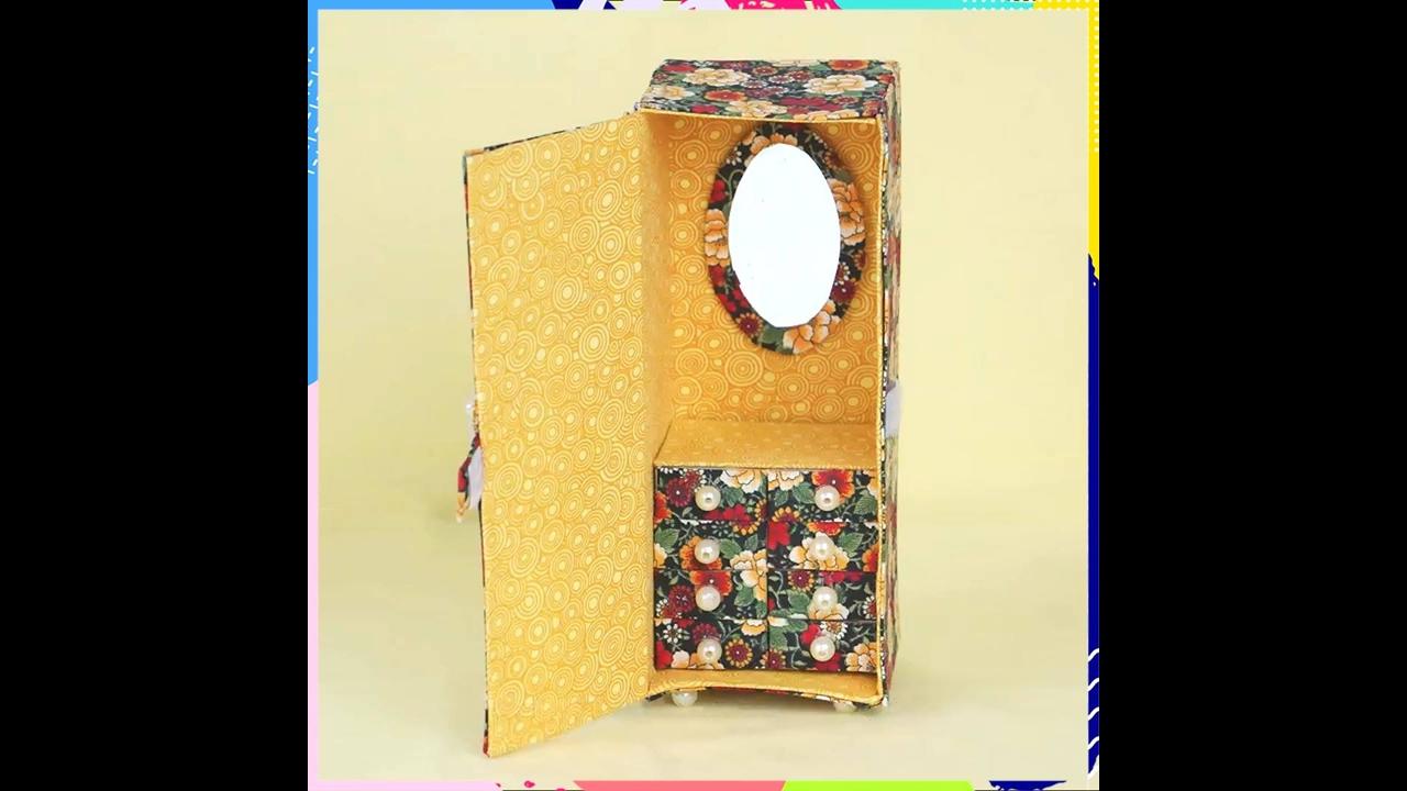 Artesanato com caixa de leite vazia, veja que lindo porta joias!!!
