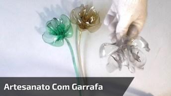 Artesanato Com Garrafa Pet De Água, Aprenda A Como Fazer Uma Linda Flor!