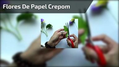 Artesanato Com Papel Crepom, Aprenda Fazer Uma Linda Flor Roxa Com Galho!