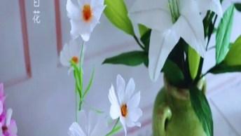 Artesanato Com Papel Crepom, Aprenda Fazer Uma Linda Flor!