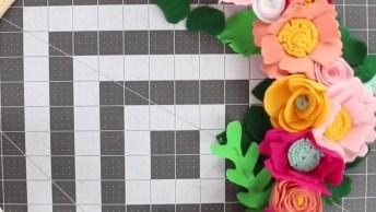 Artesanato De Arco Com Flores De Feltro Lindas Para Decorar Sua Casa!