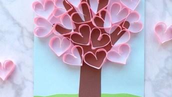 Artesanato De Árvore Com Corações, As Crianças Adoram Fazer!