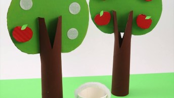 Artesanato De Arvorezinha Com Maçãs Com Velcro Para Crianças Brincarem!