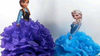 Artesanato De Centro De Mesa Da Frozen, Elsa E Ana, Muito Lindinho!