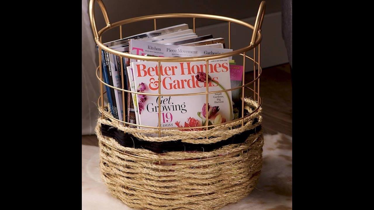 Artesanato de cesta de revista feita com corda