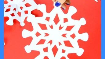 Artesanato De Como Fazer Flocos De Neve Com Papel, Olha Só Que Legal!