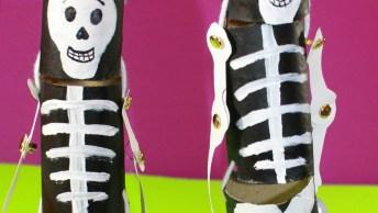 Artesanato De Esqueletos Feitos Rolinhos De Papel Higiênico!