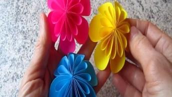Artesanato De Flor Colorida De Papel Para Decorar Parede, Olha Só Que Lindinha!