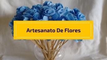 Artesanato De Flores De Feltro Super Lindinhas E Delicadas!