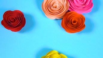 Artesanato De Mini Rosinhas De Papel Coloridos, Vale A Pena Conferir!