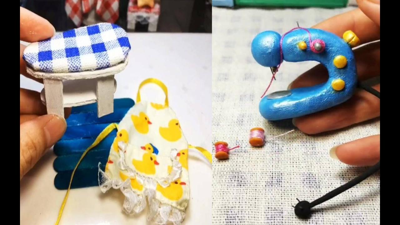 Artesanato de miniaturas de quadros com borboletas feitos de biscuit