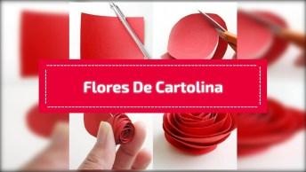 Artesanato De Quadro Com Flores De Cartolina, Veja Como Fica Delicado!